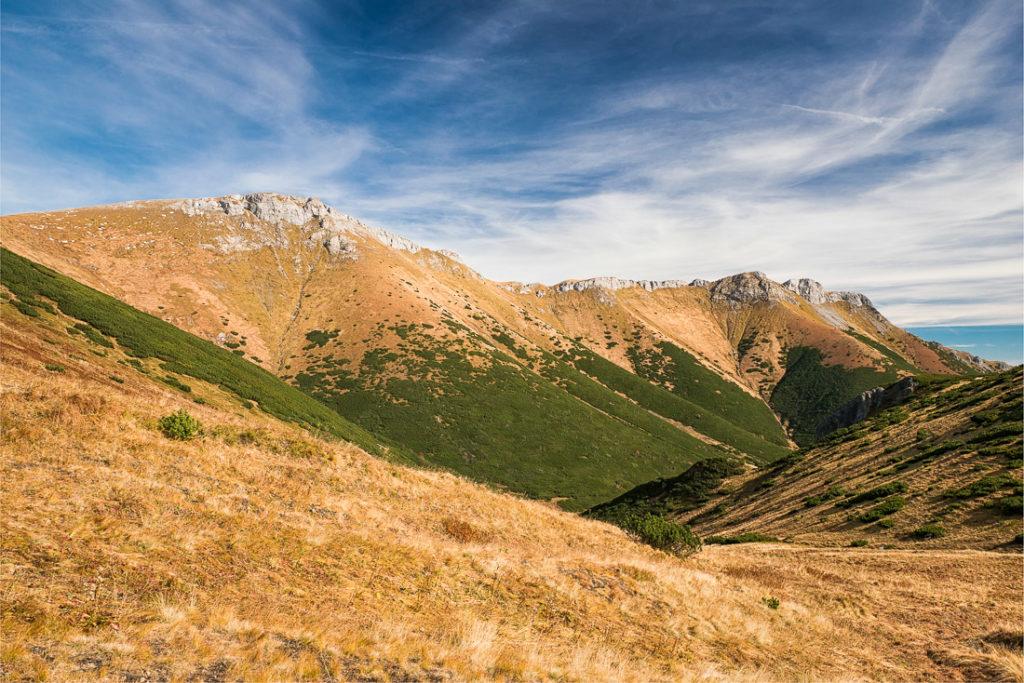 Outlook on the Belianske Tatry mountains from the Kopské sedlo saddleback